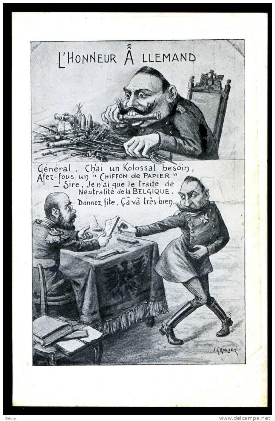 """CPA. MILITAIRE PATRIOTIQUE/CARICATURE. Neutralité De La BELGIQUE. L´HONNEUR """"ALLEMAND"""". Texte ...""""Chiffon De Papier""""... - Patriotiques"""