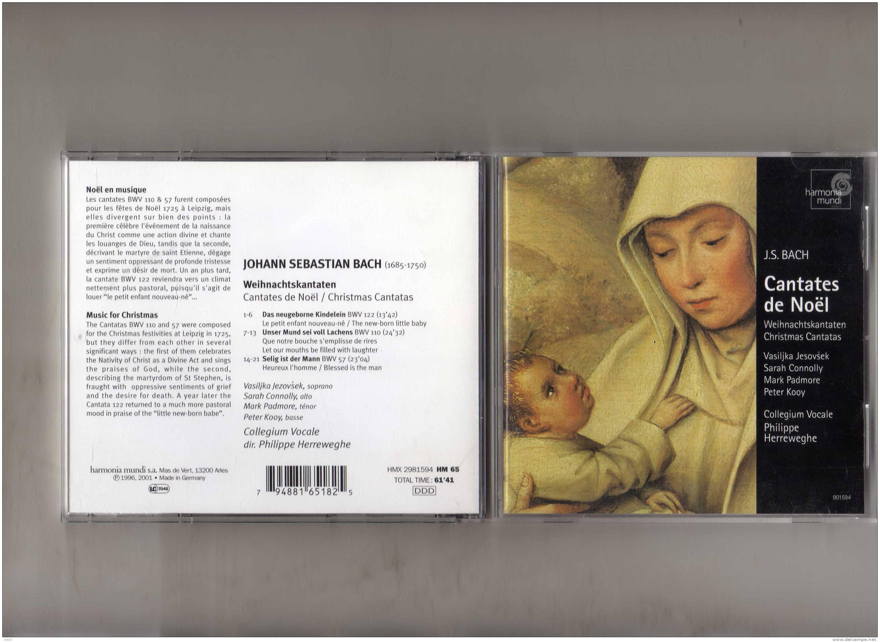 COLLEGIUM VOCALE PHIL HERREWEGHE CANTATES DE NOEL   EDIT HARMONIA MUNDI ENREG 1996 - Klassik