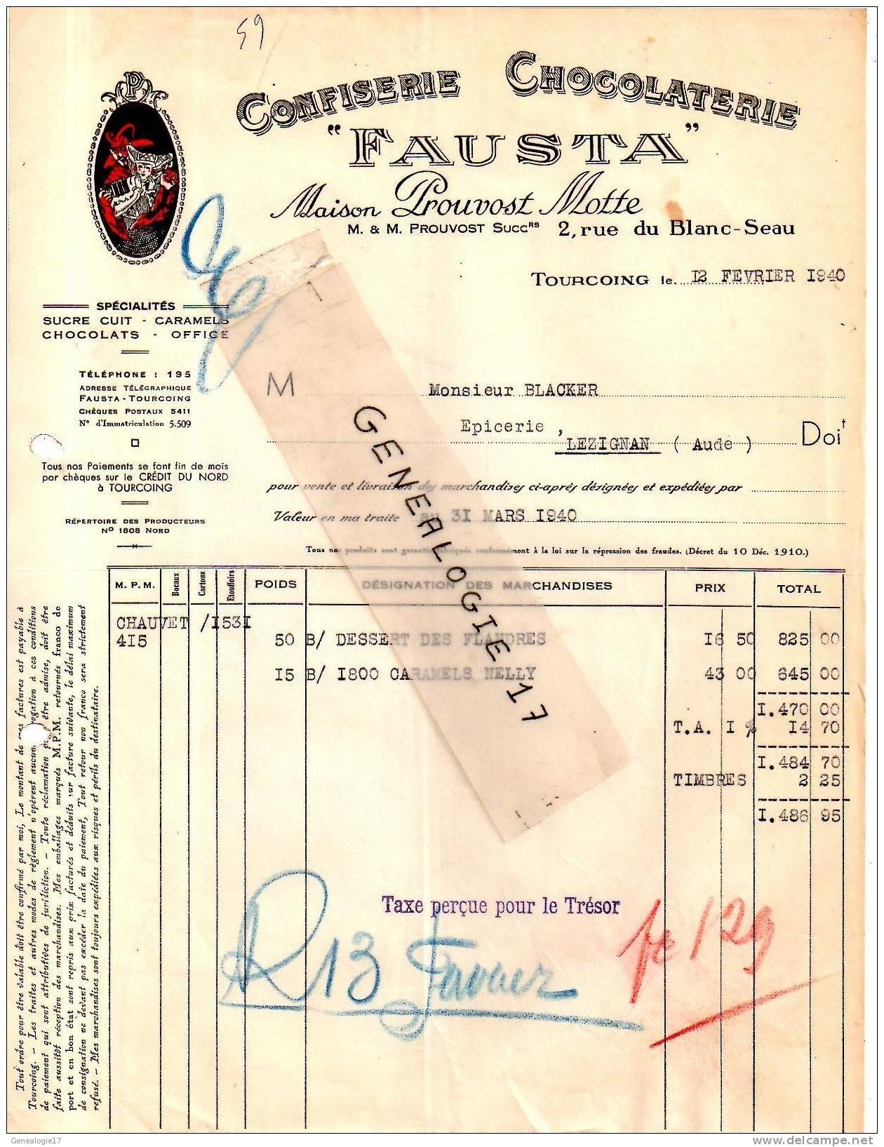 59 613 TOURCOING NORD 1940 Confiserie Chocolaterie FAUSTA Maison Chocolat PROUVOST MOTTE 2 Rue Blanc Seau - à BLACHER - Alimentaire