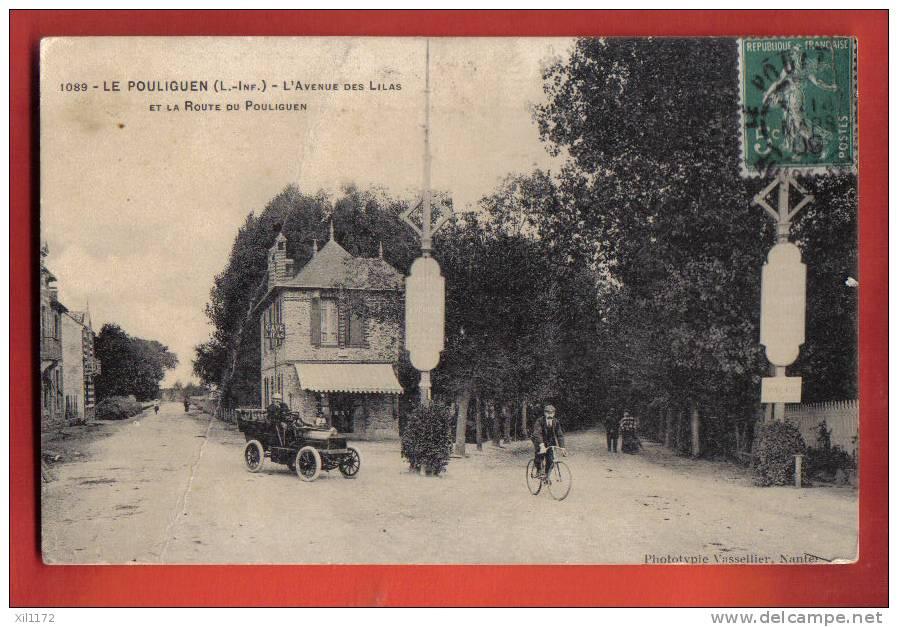 J115 Le Pouliguen Avenue Des Lilas Et Route De Pouliguen.Voiture, Cycliste,Affranchissement Frontal 1909.1089 - Le Pouliguen