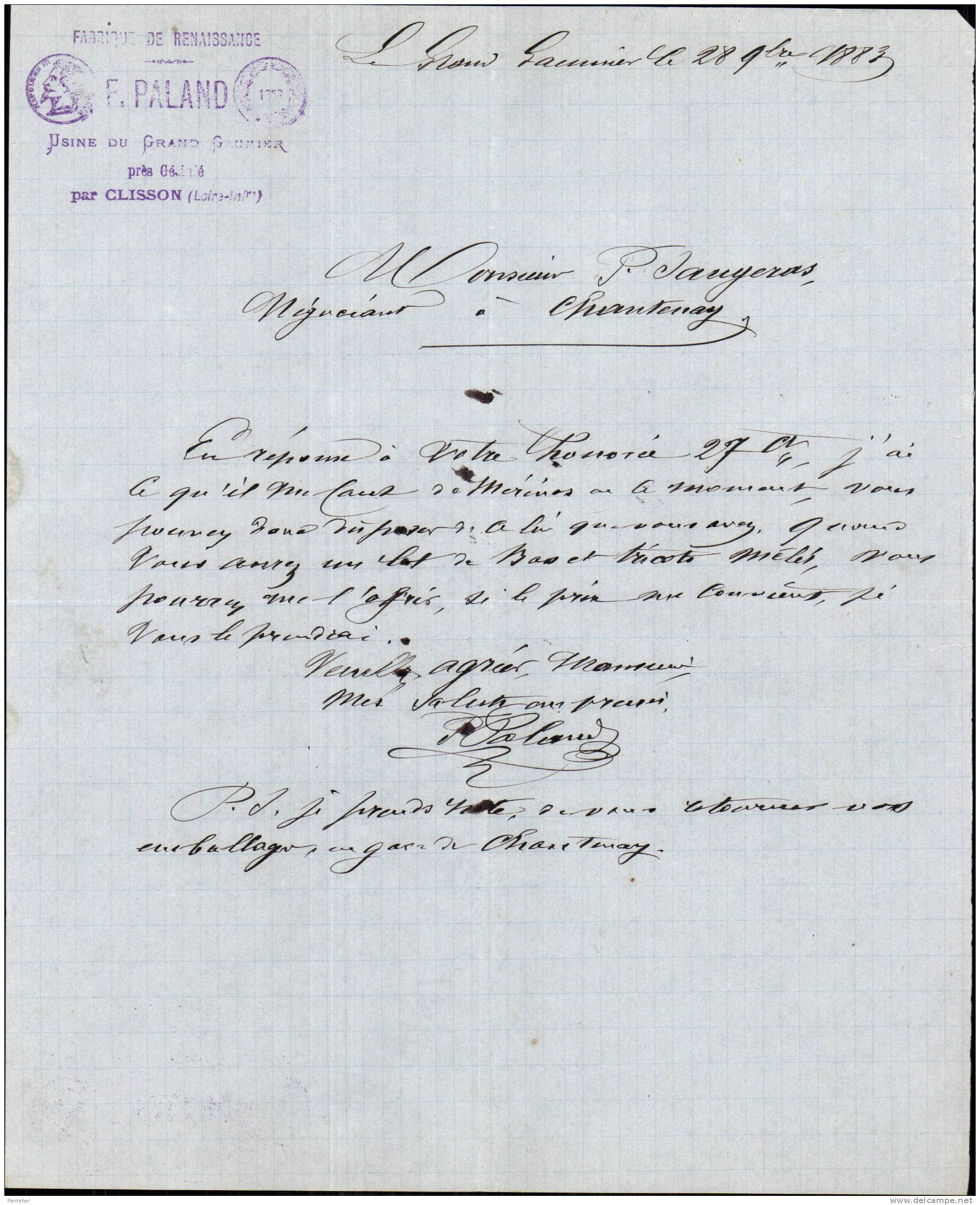 FABRIQUE DE RENAISSANCE F. PALAND USINE DU GRAND GAUMIER PRES GETIGNE PAR CLISSON - LOIRE ATLANTIQUE - 1883 - France