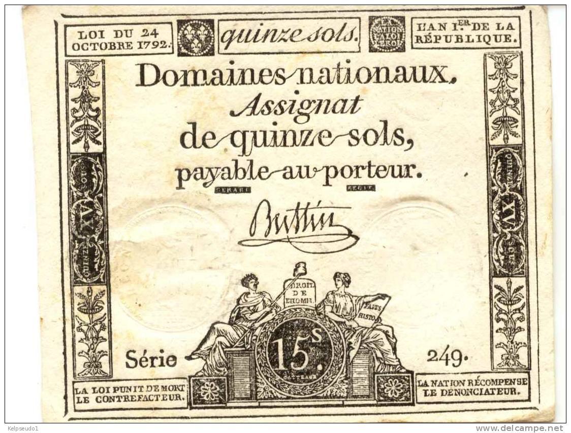 FRANCE : Assignat 15 Sols 1792. Serie 249 - Assignats