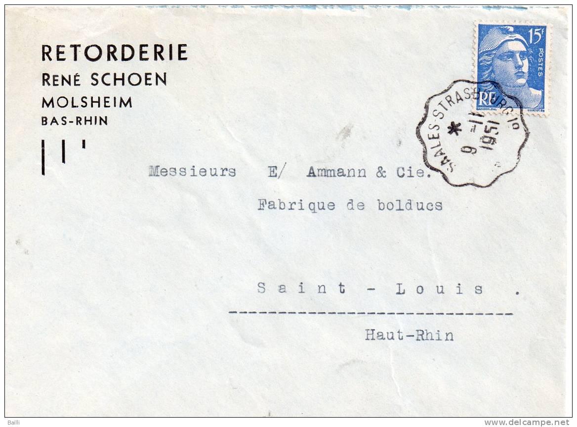 FRANCE ALSACE AMBULANT SAALES STRASBOURG 1951 - Alsace-Lorraine