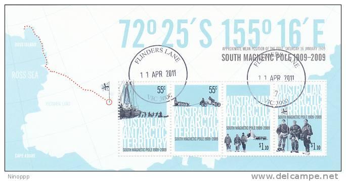 Australian Antarctic 2009 South Magnetic Pole Centenary Used MS - Australian Antarctic Territory (AAT)