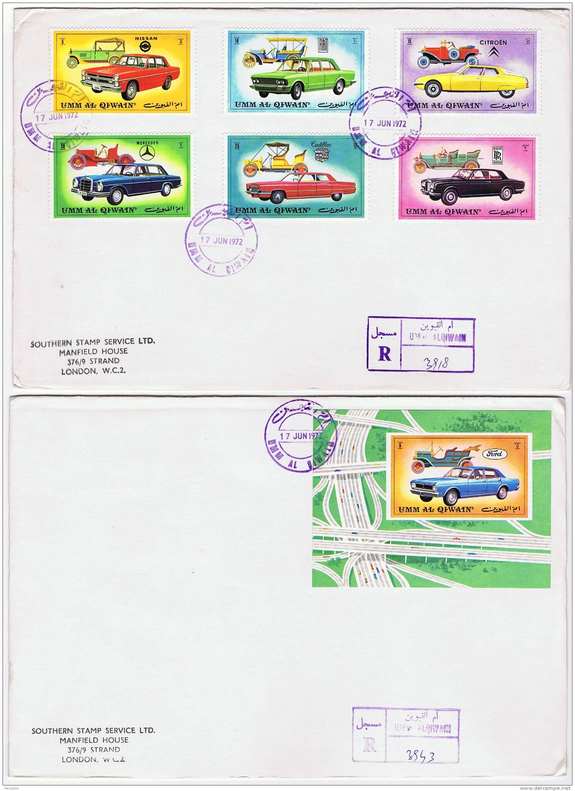 1972  Cars  Stamps And Souvenir Sheet On 2 FDCs - Umm Al-Qaiwain