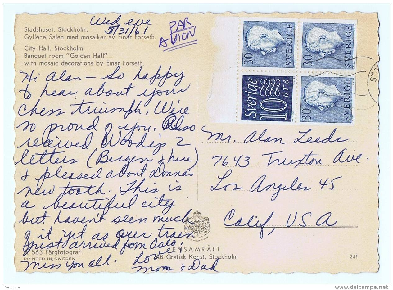 1961  Postcard To USA Franked With Facit HA 6 RV - Booklets