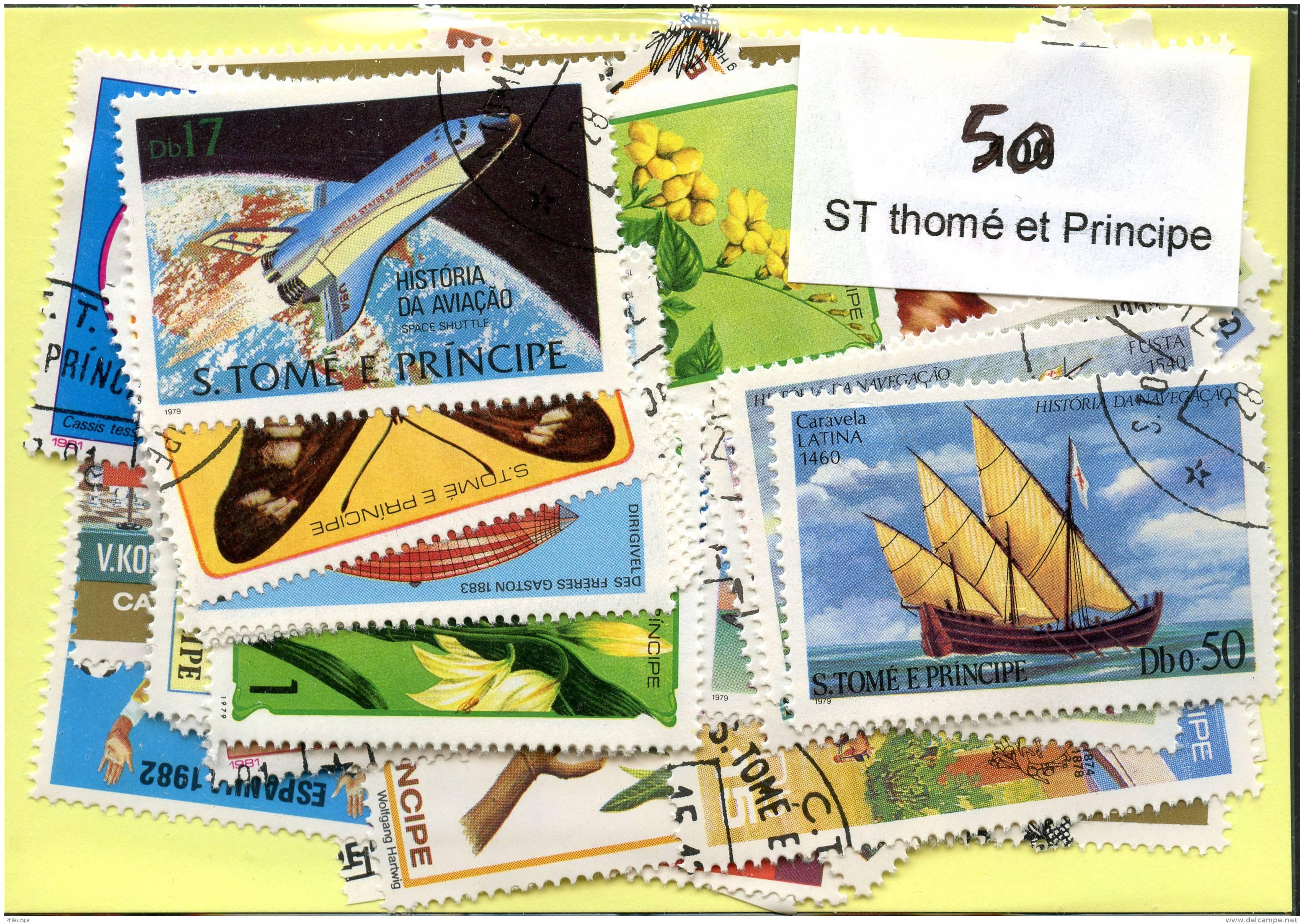 Lot 50 Timbres Saint Thomé Et Principe - Timbres