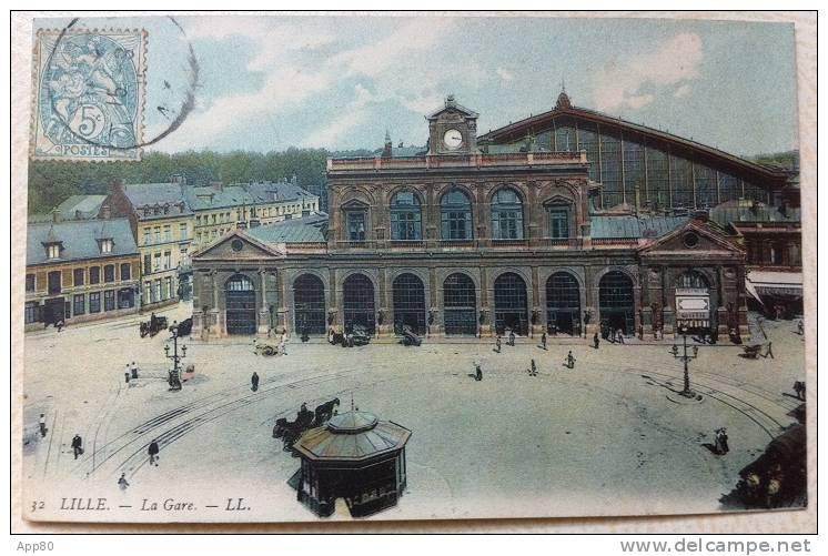Lille - La Gare (colorée, 1905) - Lille