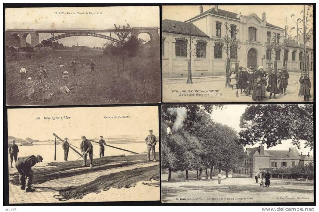LOT 10 CPA  ANCIENNES- (+1)- FRANCE- VILLAGES- PETITES VILLES- TOUTES ANIMÉES A TRES ANIMÉES- 3 SCANS - 5 - 99 Postcards