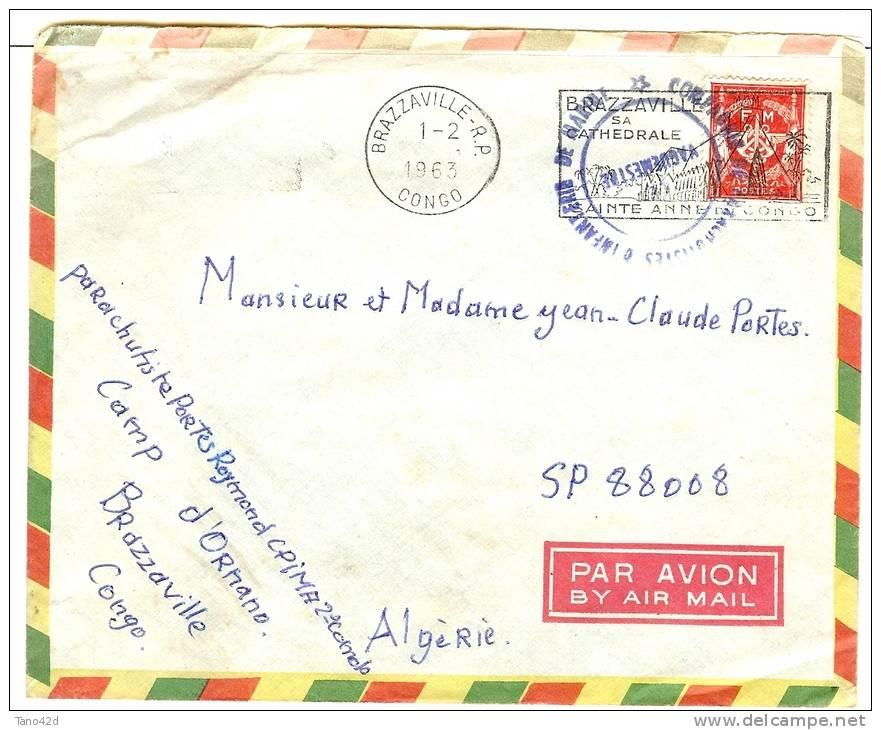 REF LBR 31 - CONGO BRAZZAVILLE LETTRE AVION EN FM 1/2/1963 CACHET DE VAGUEMESTRE - Congo - Brazzaville