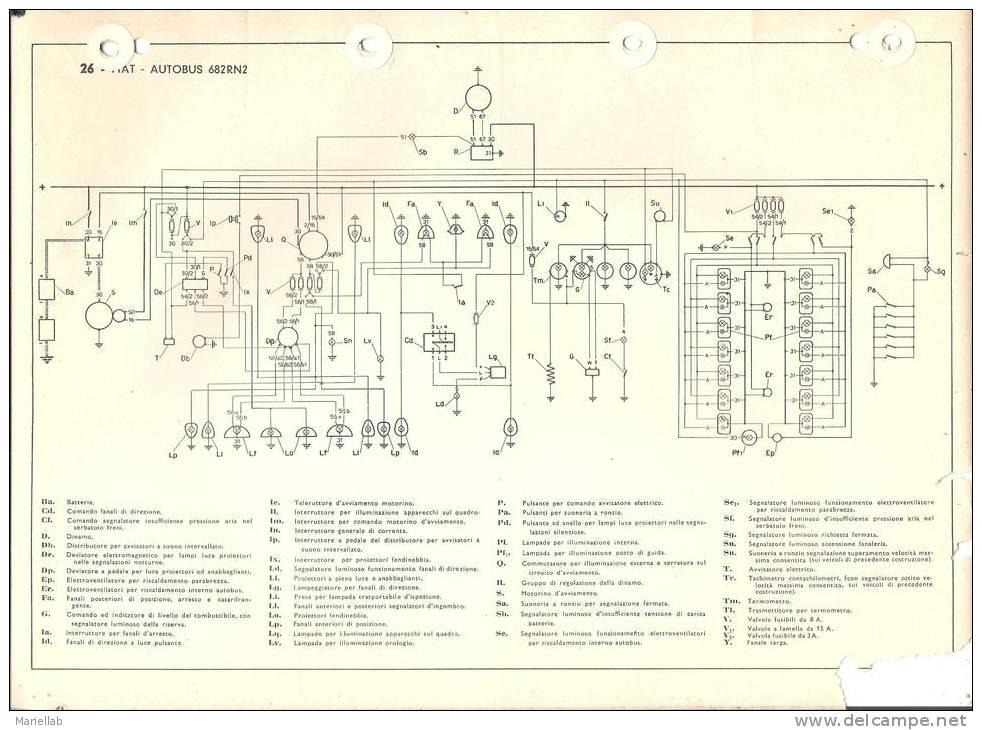 Schema Elettrico Fiat D : Auto fiat autobus rn schema impianto elettrico