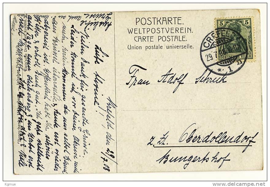 AK Krefeld Crefeld - Bergschänke Hülser Berg Hülserberg, Gelaufen 1908 Nach Oberdollendorf - Krefeld