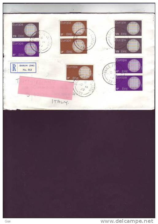 IRLANDA  1970 - Yvert 241/43 - Lettera Raccomandata Per L´ Italia - Storia Postale