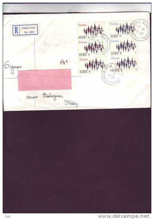 IRLANDA  1972 - Yvert  278/79 -  Raccomandata Per L´ Italia (Europa-CEPT) - Storia Postale