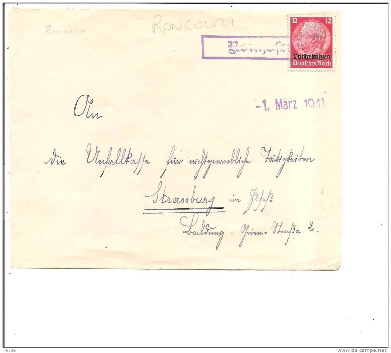 57 RONCOURT  RONHOFEN Enveloppe Allemande 1941 De MALANCOURT - Vecchi Documenti
