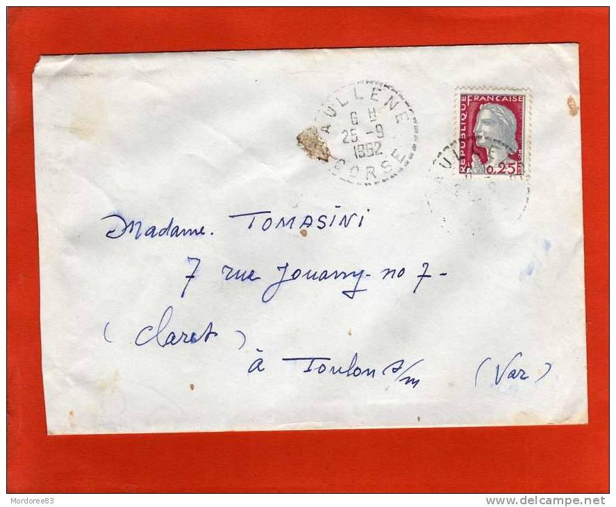 CACHET PERLE SUR LETTRE AULLENE CORSE 25/9/1962 DECARIS POUR TOULON - Marcophilie (Lettres)