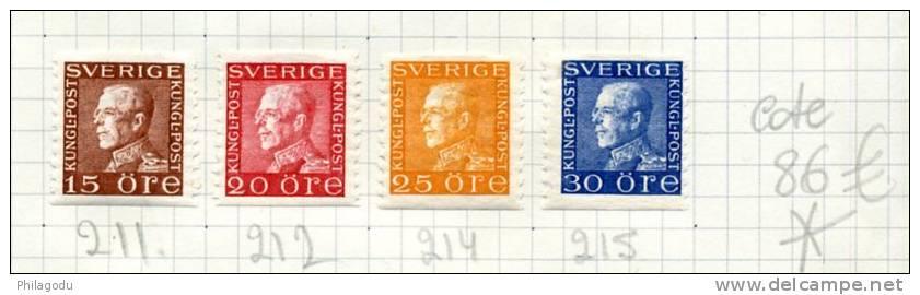 SVERIGE  1936   Yv. 211*  212*  214*  215*    Charnière TRES Propre    Cote 86 E - Suède