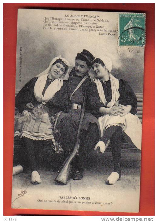 J193 Sables-d'Olonne Carte Humoristique.Cachet 1910. Hubin 403 - Sables D'Olonne