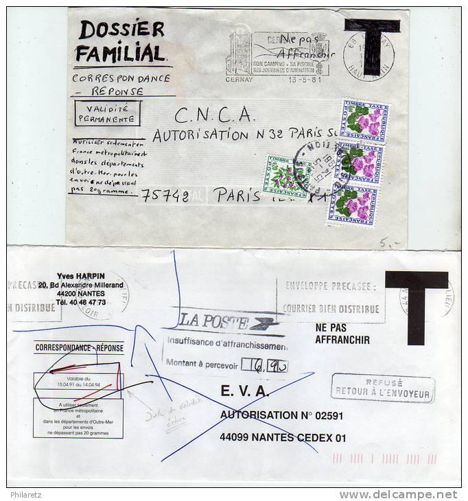 """Lot De 2 Lettres T Taxées : Enveloppe T De """"fabrication Privée"""" Et Date De Validité Dépassée - Marcophilie (Lettres)"""