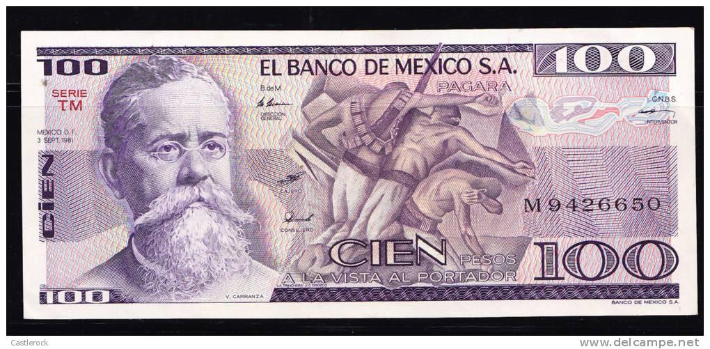 T) BANKNOTE MEXICo $ 100 PESOS  CARRANZA 1982 UNC - Mexico