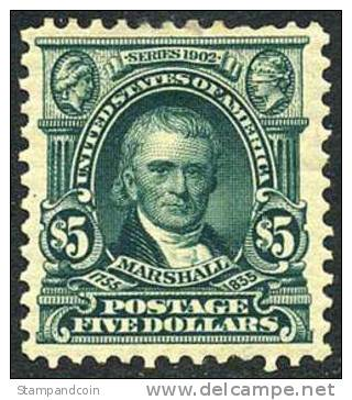 US #313 XF Mint Hinged Scarce $5 Marshall From 1903 - Unused Stamps
