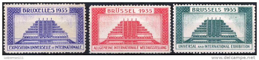 EXPO Brussels 1935 - 3 Vignettes (MNG) - 1935 – Brüssel (Belgien)