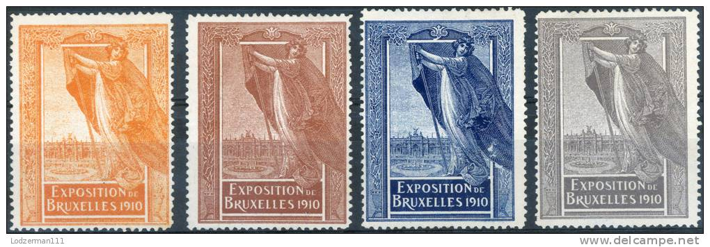 EXPO Brussels 1910 - 4 Vignettes (MNG) - Weltausstellung