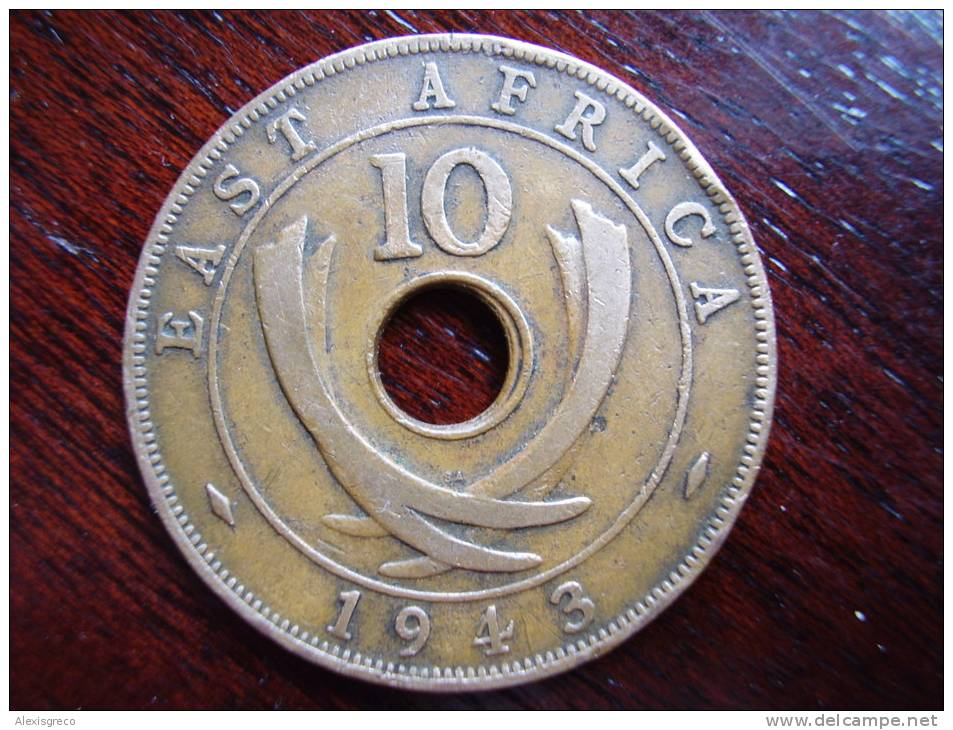 BRITISH EAST AFRICA USED TEN CENT COIN BRONZE Of 1943 (SA) - British Colony