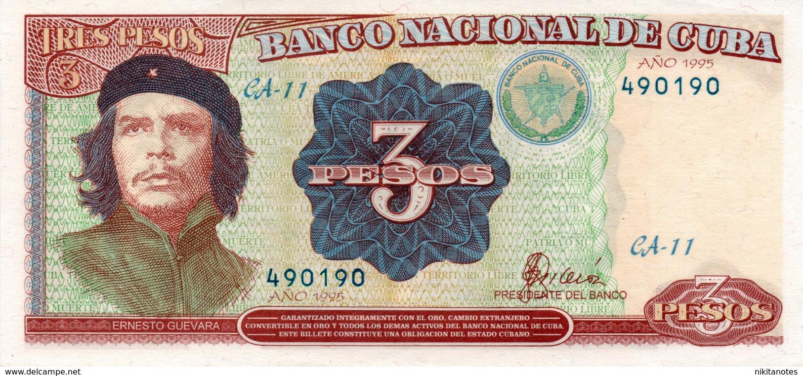 Cuba 3 Pesos 1995 & 3 Pesos 2004 Che 2 Banknotes - Cuba