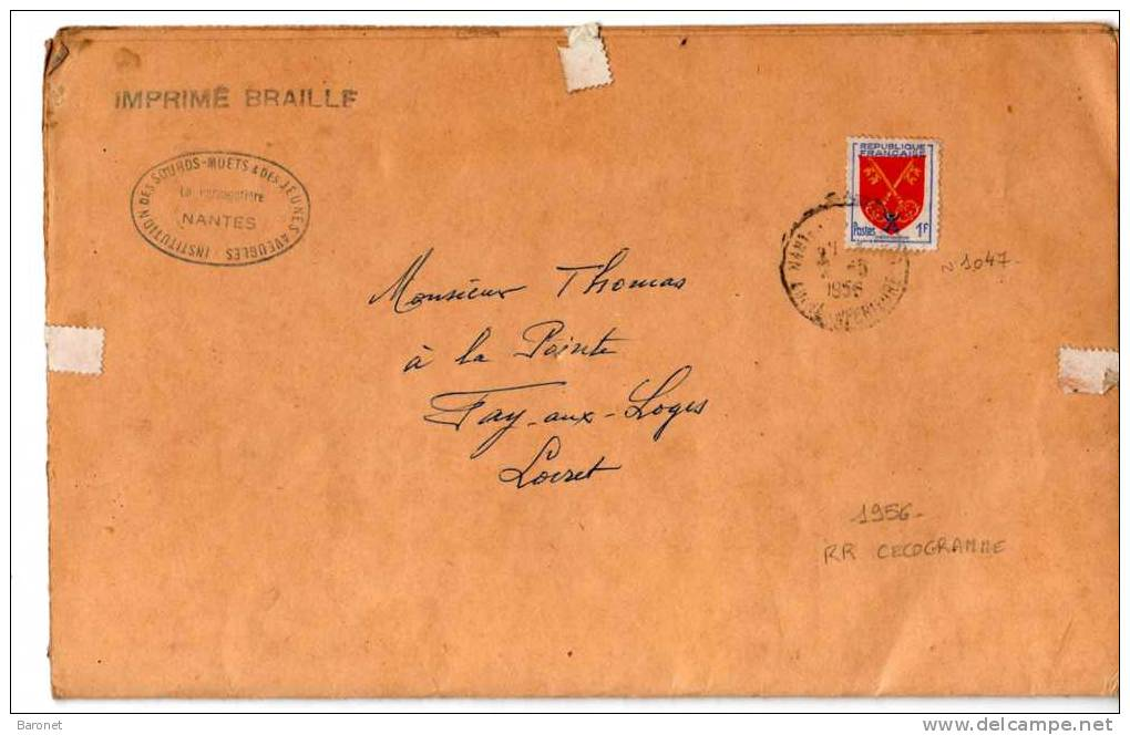 N° 1047 ( Yvert ) 1f Comtat Venaissin S / CECOGRAMME T.P. Ob Nantes 2 5 56 - 1921-1960: Modern Period