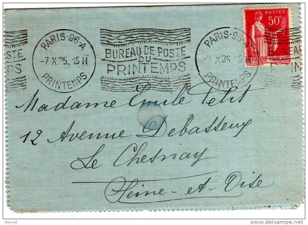 50c Paix S / L Ob Mécanique KRAG Paris 96--A  7 X 35  Bureau De Poste / Du / Printemps - Postmark Collection (Covers)