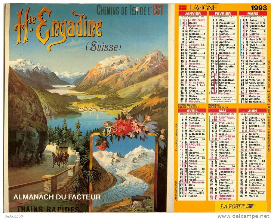 ALMANACH DES PTT  1993 RHONE - Grand Format : 1991-00
