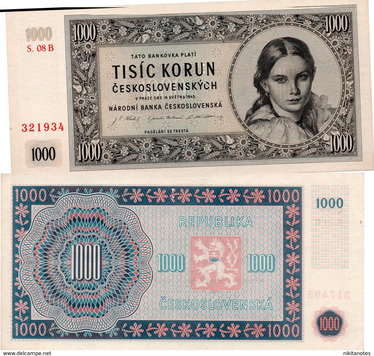 CZECHOSLOVAKIA 1000 1,000 KORUN 1945 P 74 SPECIMEN SEE SCAN 3 PUNTI - Tsjechoslowakije