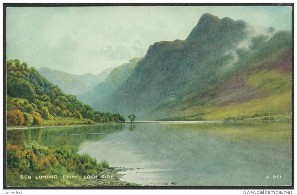 """""""Ben Lomond From Loch Side""""  By  E H Thompson,  C1960 - Stirlingshire"""