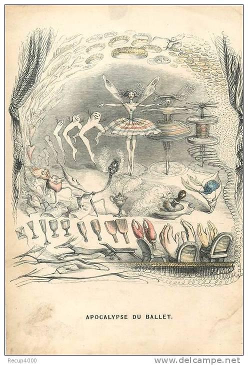 LITHOGRAPHIE   Par GRANDVILLE  1844   Apocalypse Du Ballet - Lithographies