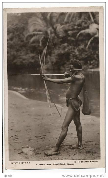Solomon Mala A Roas Boy Shooting Tir A L'Arc Bow Nude Native Pub. Melanesian Mission - Salomon