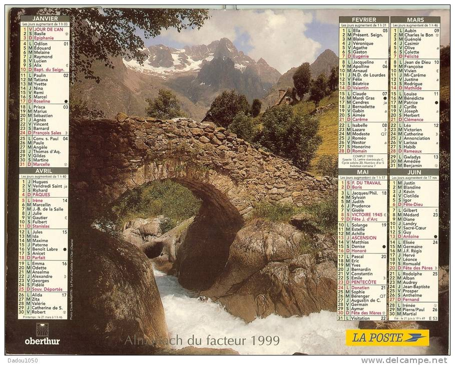 ALMANACH DES PTT  1999 RHONE - Calendriers