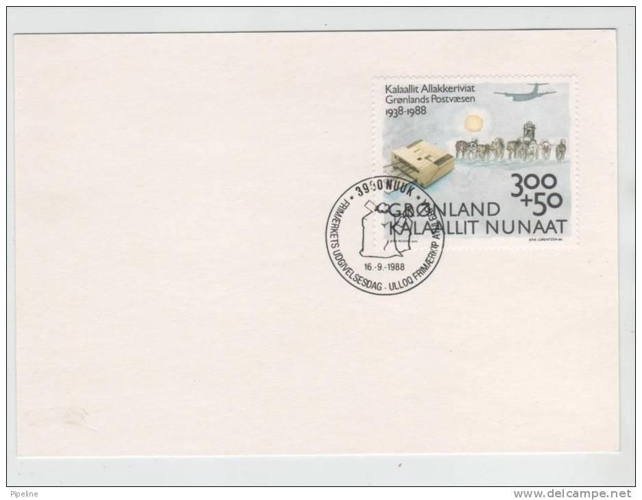 Greenland FDC Card 16-9-1988 Post Greenland 50th Anniversary - Non Classificati