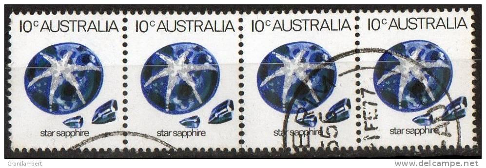 Australia 1973 Gemstones 10c Star Sapphire Strip Of 4 Used  SG 552a - 1966-79 Elizabeth II