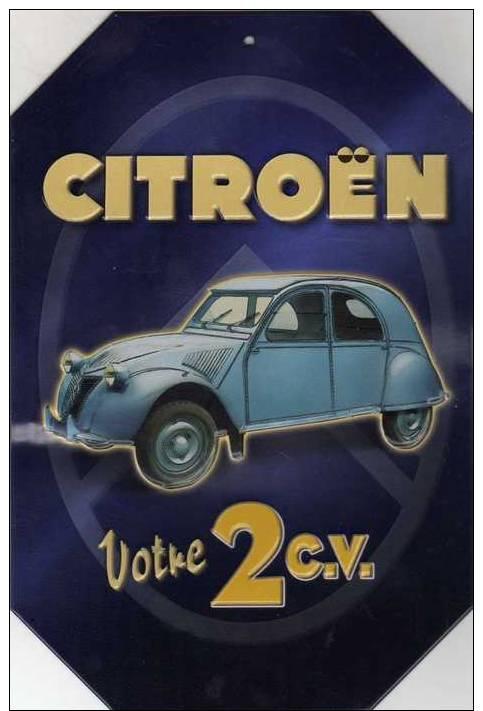 Plaque Publicitaire Citroên Votre 2cv, 10cm X 15cm En Relief - Plaques En Tôle (après 1960)