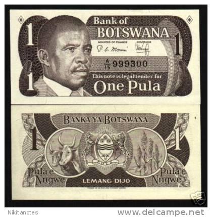 BOTSWANA 1 P6 1983 AFRICA PRESIDENT COW ZEBRA UNC NOTE - Botswana
