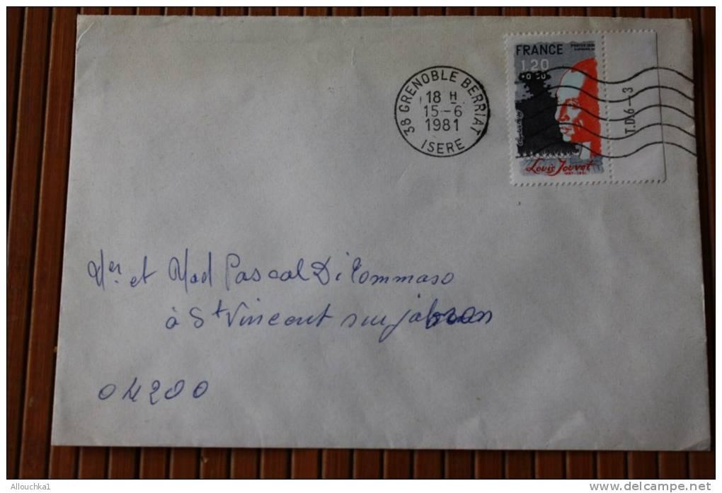 1981 LETTRE  OMEC FLAMME AFFRANCHISSEMENT TIMBRE SEUL SUR LETTRE > LOUIS JOUVET  DE GRENOBLE RP Pr 04 - Marcophilie (Lettres)