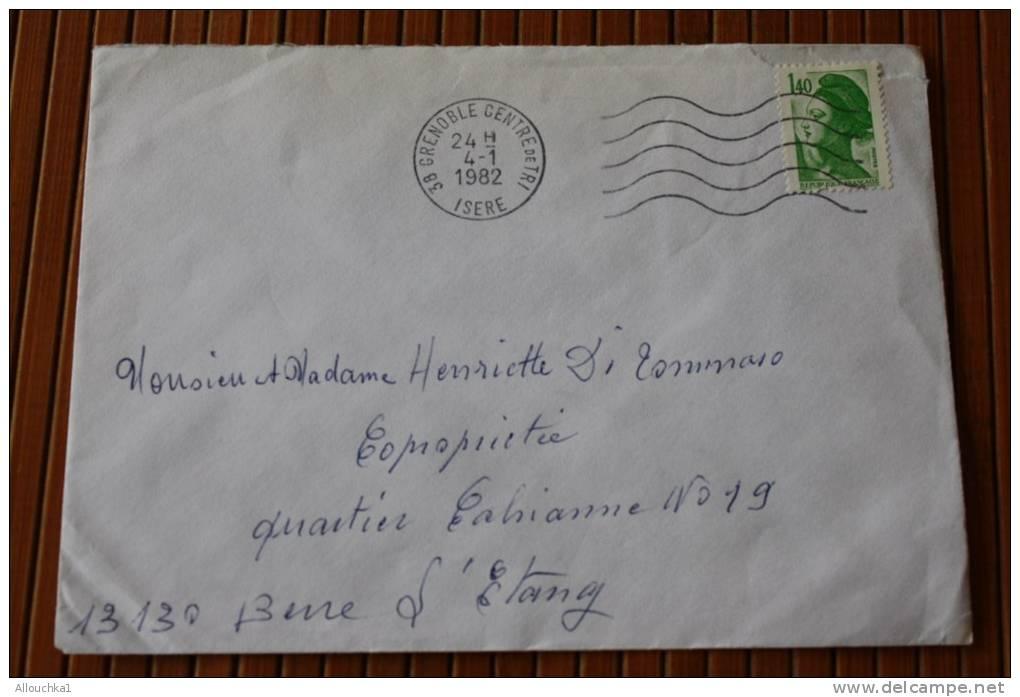 1982 LETTRE OMEC FLAMME AFFRANCHISSEMENT  TIMBRE SEUL SUR LETTRE >MARIANNE LIBERTE 1F40  > DE GRENOBLE RP Pr 04 - Marcophilie (Lettres)