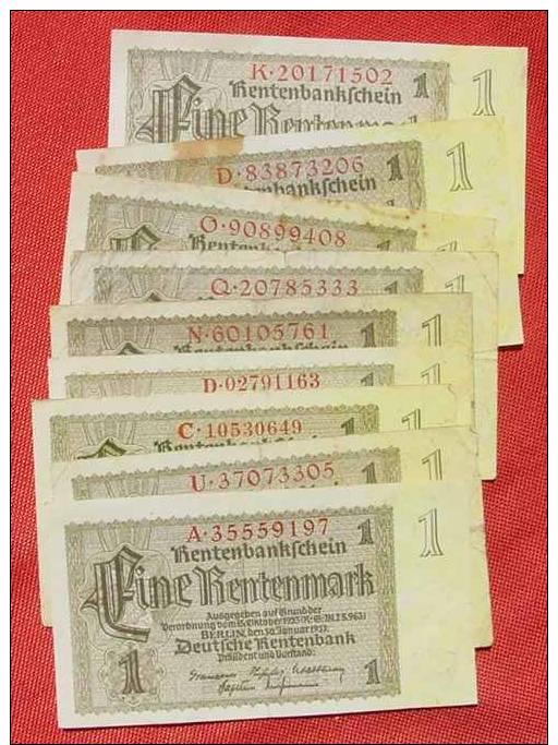(1042082) 10 X 1 Rentenmark, Berlin 30. 1. 1937, Ro. 166, KZ = 8-stellig - 1933-1945: Drittes Reich