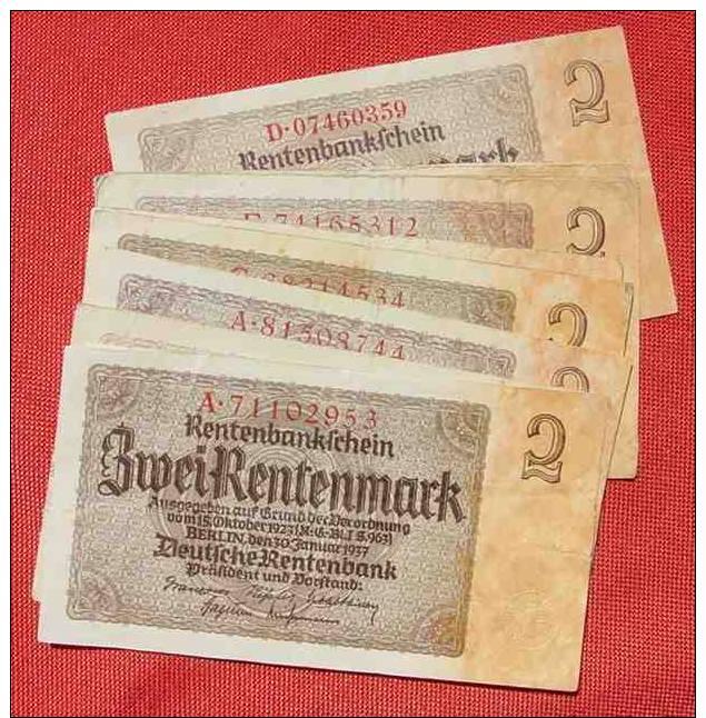 (1042083) 12 X 2 Rentenmark, Berlin 30. 1. 1937, Ro. 167, KZ = 8-stellig - 1933-1945: Drittes Reich