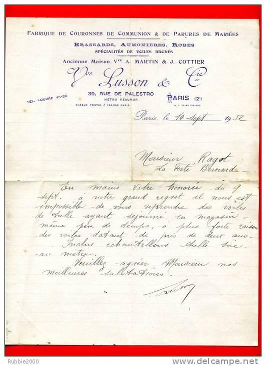 LETTRE A EN TETE 1932 FABRIQUE COURONNES DE COMMUNION PARURE DE MARIEE LUSSON 39 RUE DE PALESTRO METRO REAUMUR PARIS 2 - Mariage