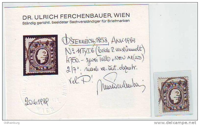049r: Österreich 1858, ANK 11 I B, Attest Ferchenbauer - 1850-1918 Imperium