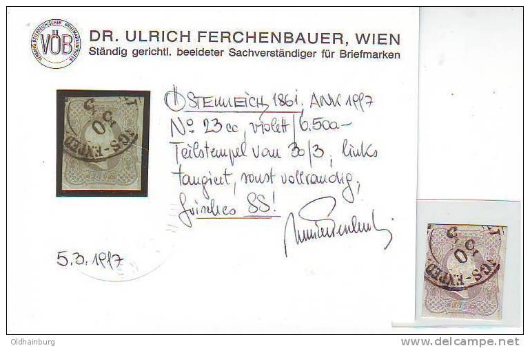049s: Österreich 1861, ANK 23 Cc, Attest Ferchenbauer - 1850-1918 Imperium