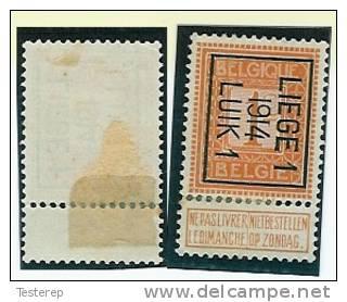 LIEGE 1  1914  LUIK 1  1ct  Pos.B  Cfr  Scan : Tab Partie Avec Charnière - Typo Precancels 1912-14 (Lion)