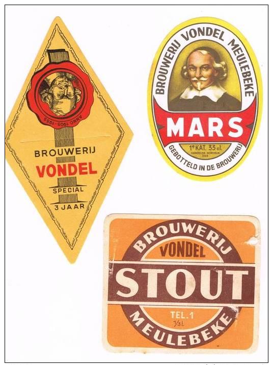 Lot Van/de 13 Etiketten-etiquettes Brouwerij Vondel-Brasserie Vondel Meulebeke - Bière